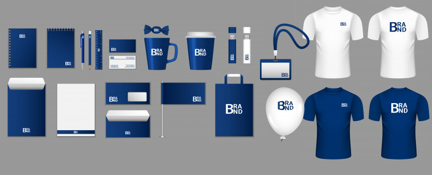 Brand consistency displayed in corporate promo items
